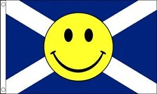 SCOTLAND SMILEY FACE FLAG 5' x 3' St Andrews Cross Scottish Festival TO CLEAR **