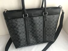 Coach  NWT 54799 Perry Signature Business Tote Black Charcoal