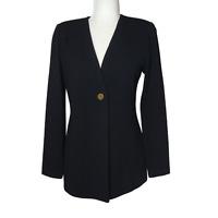 Women's St. John Black Single Button Blazer Jacket Size 4 Shoulder Pads V-Neck