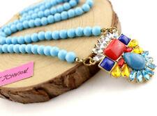 Betsy Johnson Enamel Jewelry Pendant Rhinestone Flowers bead Turquoise necklace