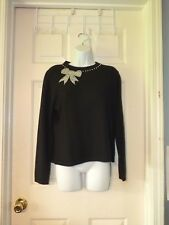 Woman sp STUDIO WORKS PETITE Black sweater with PEARL BOW NECK LINE ROCKABILLY