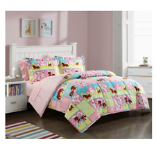 New Full Size Comforter Set Horsey Bedding Girl's Bedspread Pink Sheets Kid's