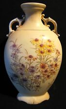 Antique Victorian Rudolstadt Kapselton Clay Footed Floral Pillow Vase Gold Gild