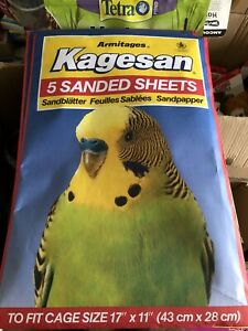 """3 X Budgie Sand Sheets 17"""" x 11"""" Kagesan 5 Pack 43cmx28cm Finch Canary 15 Sheets"""