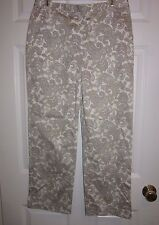 Brooks Brothers 346 Women's 8 Stretch Paisley Print crop ankle pants ivory EUC