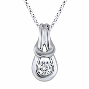 """0.16 Ct Genuine White Diamond Sterling Silver Love Knot Pendant with 18"""" Chain"""