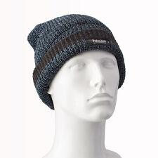 Da Uomo Pescatore a Maglia Thinsulate Cappello Beanie-Blu chiaro con A righe color antracite