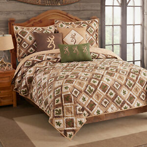 Browning Nature Buckmark Full Queen Quilt w/shams 3pc Patchwork Brown Green