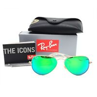 New Ray-Ban RB3025 112/19 Gold Aviator Sunglasses w/ Mirrored Green Lenses 58mm