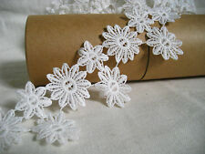 LM15 vintage bohemian white daisy flower sewing fringe lace trim 5.8cm x 2 yards
