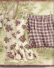 VINTAGE CLOTHESLINE LAUNDRY WALLPAPER BORDER  KB6151B
