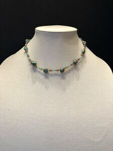 """R. J. Graziano turquoise necklace 15"""" with chalcedony & aquamarine"""