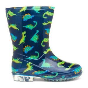Kids Green Navy Dinosaur Wellington Boots Kids Welly Childrens Rain Snow Wellies