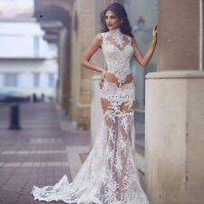 Mermaid Wedding Dresses Lace Appliques See through Sleeveless Plus Size Custom