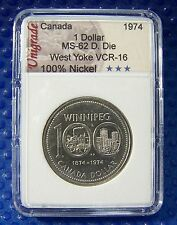 CANADA 1974 Nickel Dollar, Double Die, West Yoke, VCR-16 in slab holder #117