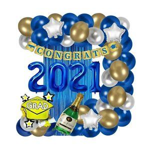 Graduation Decorations 2021 Blue Gold White Congrats Grad Banner Party Supplies