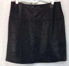 Valerie Stevens New Zealand Lambskin Leather Womens 14 Black Knee Length Skirt