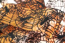 "May Arts 2"" Orange Sheer Ribbon Flocked Black Velvet Spider & Web - Halloween"