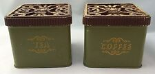 2 Vintage Olive Green Coffee Tea Tin Containers Canisters Fleur De Lis Lids