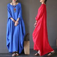 L-XXXXXL Plus Size Ladies Comfy Loose Casual Long Maxi Dress Kaftan Long Shirts#