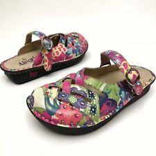ALEGRIA FREESIA Mary Janes Women's Slip On Floral Leather Clogs 6.5-7 Eu37 NWOB