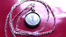 """1967 IRISH LUCKY RABBIT COIN PENDANT on a 26"""" 925 STERLING SILVER Chain"""