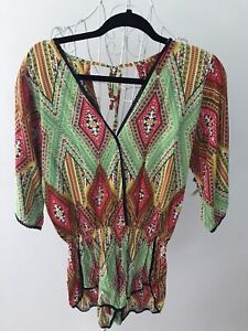 Playsuit Jumpsuit Sz 10 Green Red Short Sleeves Shorts Back Tie Summer Festival