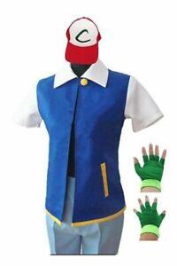 Pokemon Ash Ketchum Trainer Fancy Costume Cosplay Shirt Jacket + Gloves + Hat