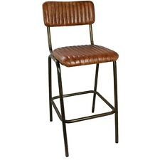 More details for industrial vintage rustic kitchen stool, brown ribbed leather metal restaurant