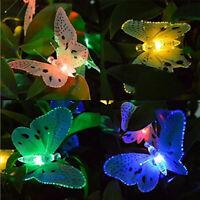 Solar Powered 20LED Butterfly Fairy String Light Lamp Outdoor Garden Decoration