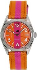 New Tommy Hilfiger Women Pink-Orange Fabric/Leather Band Watch 30mm 1781296 $105
