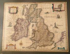 WILLEM BLAEU MAP: Magnae Britanniae et Hiberniae Tabula 17th C BRITISH ISLES