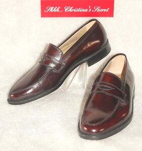 Shoes Loafers Moccasin NEW FLORSHEIM Designer Collection Burgundy Leather Sz 12D
