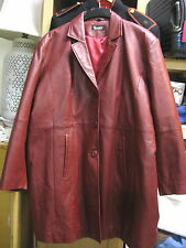 W@W! Very Nice Excelled Woman's Red Leather Coat   Sz 3XL   VF+ to Excellent