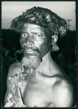 Ethnic Mozambique Zavala chope man hairdo hat original c1950s photo postcard