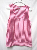 CATO top shirt blouse LARGE 8/10 Bust 40 pink white stripe soft cotton