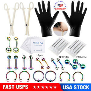 42pcs Body Piercing Tool Kit ofessional Piercing Needles for Ear Nose Belly Lip
