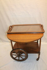 Incredible Arts & Crafts Tiger Oak Serving Drop Leaf Table, Tea Cart with Tray