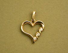 Sirena Collection 14K solid yellow gold 3 diamond 1/7 TCW heart pendant 3.3 gram