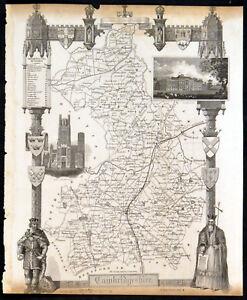 CAMBRIDGESHIRE 1848 Thomas Moule ANTIQUE MAP