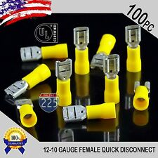 100 Pack 12-10 Gauge Female Quick Disconnect Yellow Vinyl Crimp Terminals .250""