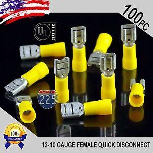 "100 Pack 12-10 Gauge Female Quick Disconnect Yellow Vinyl Crimp Terminals .250"""