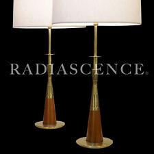 TOMMI PARZINGER STIFFEL ATOMIC SPACE JET AGE MODERN BRASS WALNUT TABLE LAMPS 50S