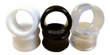 3 PAIR SET - Black,White,Clear Ear Tunnels Plugs Gauges Earlets - up to 30mm!