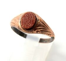 Antique Victorian 9ct Rose Gold Goldstone Signet Ring