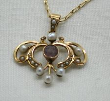 Beautiful Vintage / Antique 14 Carat Gold Pink Amethyst & Natural Pearl Pendant