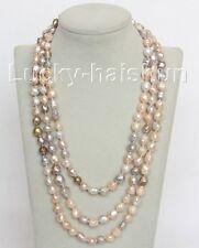 "natural bleb Baroque 64"" 10mm Multicolor Reborn keshi pearls necklace"