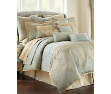 Waterford Fine Linens Aramis Aqua/Gold Reversible Queen Comforter Set 4pc