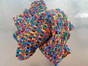 Scarf, Shawl, Crochet, Hand made Colourful, Warm soft, fluffy, Acrylic Yarn