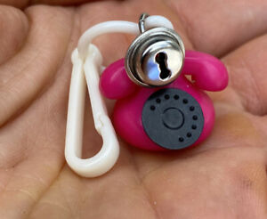 VTG 80s Hot Pink Phone Black Dial Clip On Charm Bell for Plastic Charms Necklace